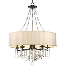 Golden 8981-5 BLK-BRI - Echelon 5 Light Chandelier in Black with Bridal Veil Shade