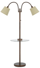 CAL Lighting BO-2444GT-RU - 40W 3 Way Gail Metal Double Gooseneck Floor Lamp With Glass Tray Table And Two USB Charging Ports.