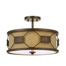 CAL Lighting FX-3681-3 - 60W X 3 Ragusa Metal 2 In 1 Pendant/Semi Flush Mount Fixture With Burlap Shade