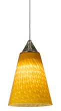 "CAL Lighting UPL-707/10-BS - 5"" Tall Glass And Metal LED Pendant With Rust Cord"